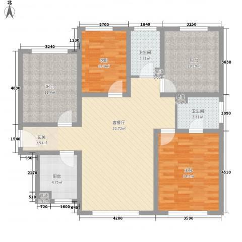 建赏欧洲2室1厅2卫1厨129.00㎡户型图