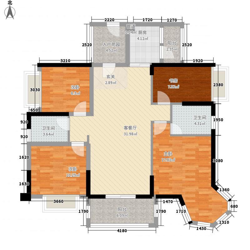 碧琴湾花园124.00㎡碧琴湾花园户型图3、4栋03单元4室2厅2卫户型4室2厅2卫