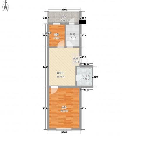 环北家园三期2室1厅1卫1厨61.00㎡户型图