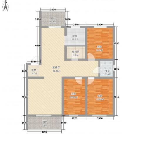环北家园三期3室1厅1卫0厨128.00㎡户型图