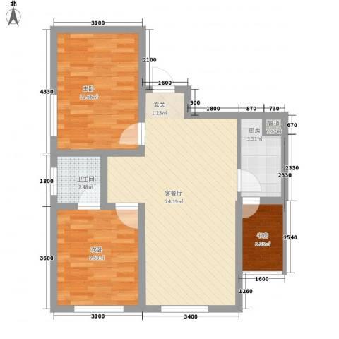 永新苑・西区3室1厅1卫1厨83.00㎡户型图
