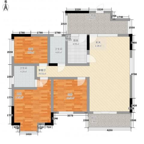 康城水郡3室1厅2卫1厨144.00㎡户型图
