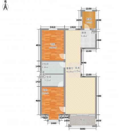 海富金棕榈2室1厅2卫0厨90.21㎡户型图