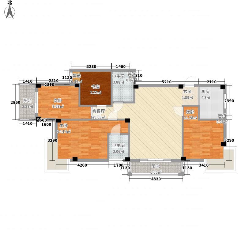 金辉莱茵城二期128.00㎡金辉莱茵城二期户型图01单元户型4室2厅2卫1厨户型4室2厅2卫1厨