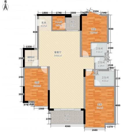 骏马山庄三期3室1厅3卫0厨135.00㎡户型图