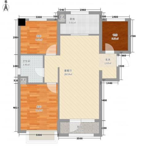 万科樱花园3室1厅1卫1厨94.00㎡户型图