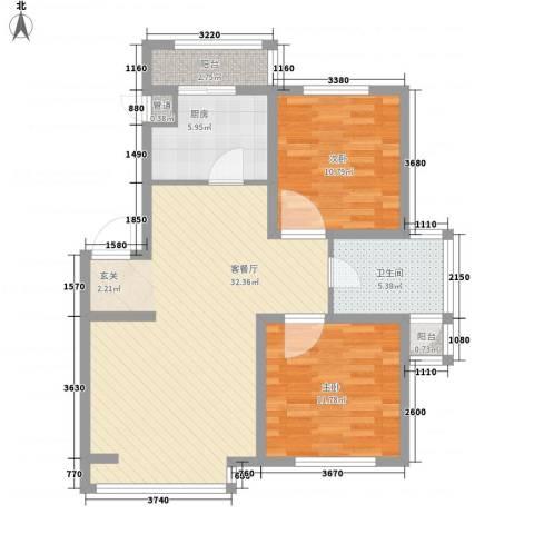 郦都花园2室1厅1卫1厨94.00㎡户型图