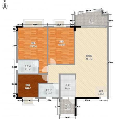 骏马山庄三期3室1厅2卫1厨135.00㎡户型图