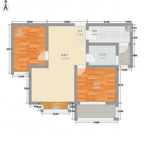 君临天下2室1厅1卫1厨82.00㎡户型图