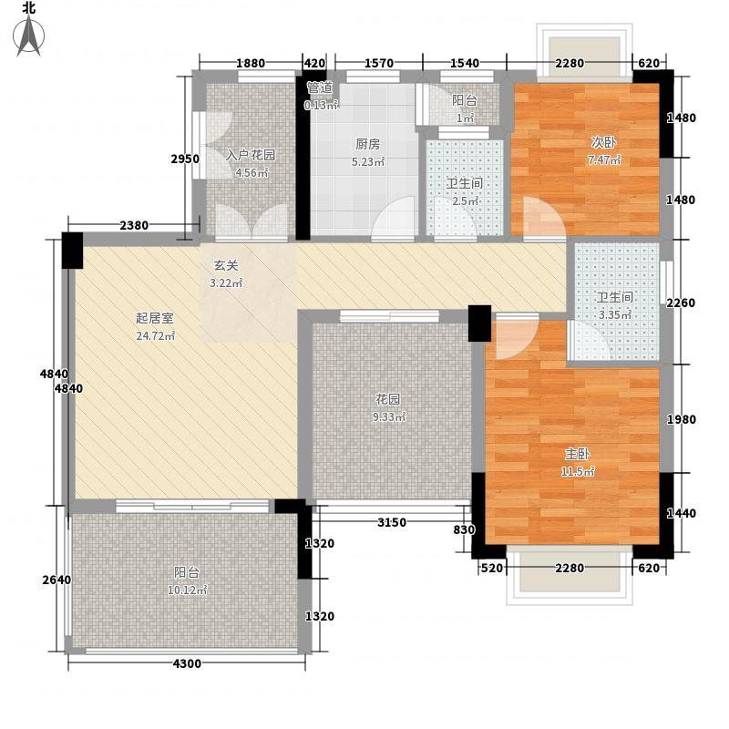 慧港国际8.00㎡01单位偶数层户型2室2厅2卫1厨