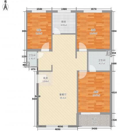 梧桐苑3室1厅2卫1厨118.00㎡户型图