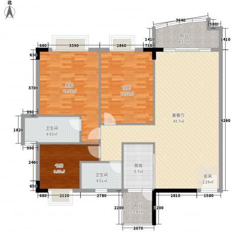 骏马山庄三期3室1厅2卫1厨136.00㎡户型图
