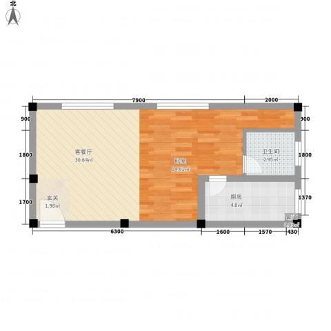 紫东公寓1厅1卫1厨48.00㎡户型图