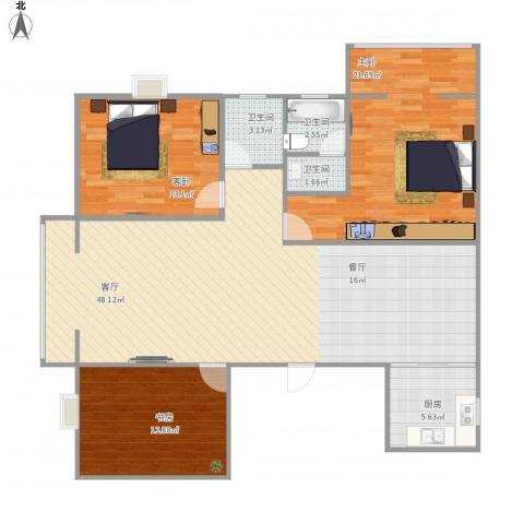 馨园二号3室1厅3卫1厨146.00㎡户型图