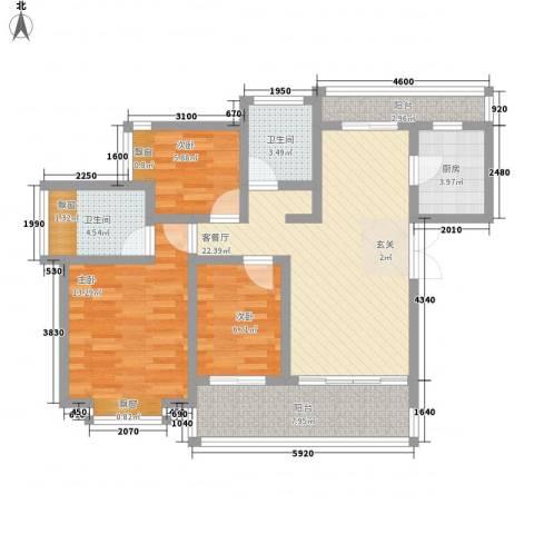 君临天下3室1厅2卫1厨110.00㎡户型图
