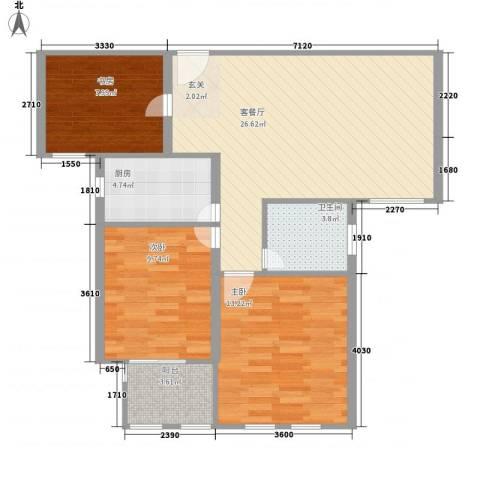 德仁・翡翠城3室1厅1卫1厨69.72㎡户型图