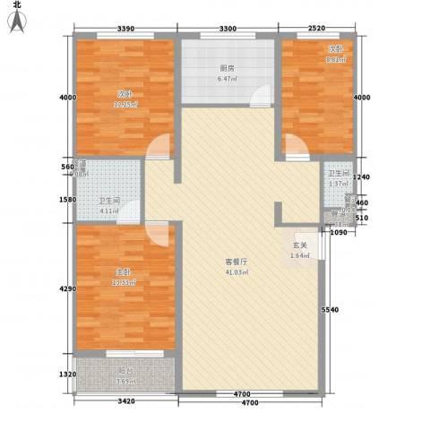 梧桐苑3室1厅2卫1厨128.00㎡户型图