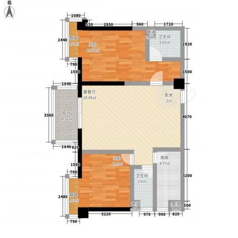 时代财富城2室1厅2卫1厨68.47㎡户型图
