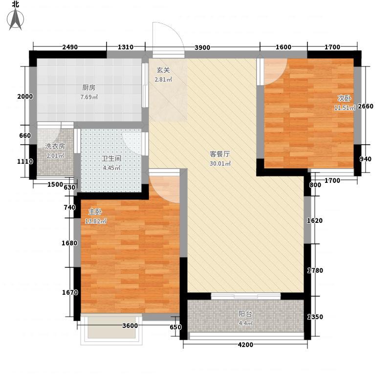 世纪华庭一期标准层青英华章户型2室2厅1卫1厨