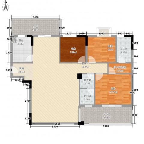 南丰花园3室1厅2卫1厨165.00㎡户型图