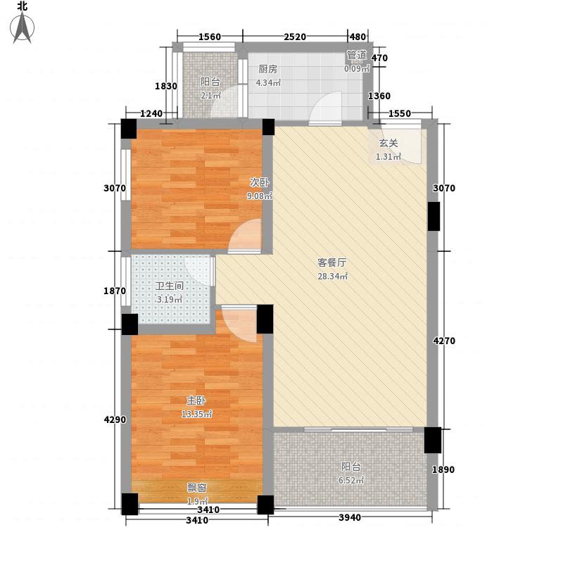 尚城峰境花园72.00㎡一期标准层E户型2室1厅1卫1厨