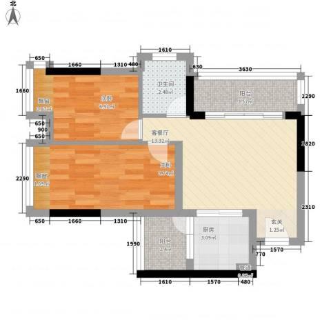 科尔玛城2室1厅1卫1厨72.00㎡户型图