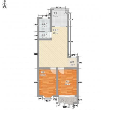 凤林工人新村2室1厅2卫1厨68.00㎡户型图