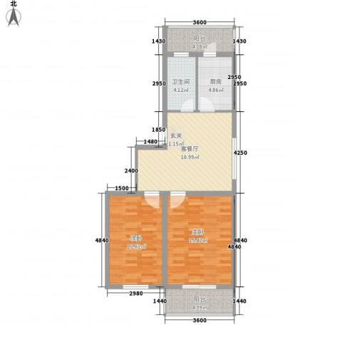 环北家园三期2室1厅1卫1厨83.00㎡户型图