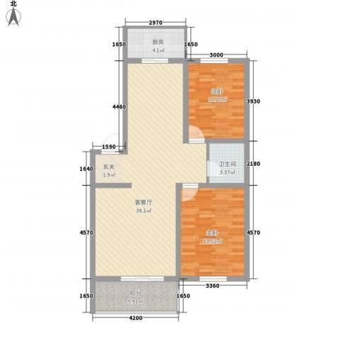 环北家园三期2室1厅1卫1厨96.00㎡户型图