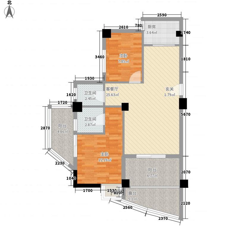 汇景雅苑81.24㎡3号楼07户型2室2厅2卫1厨