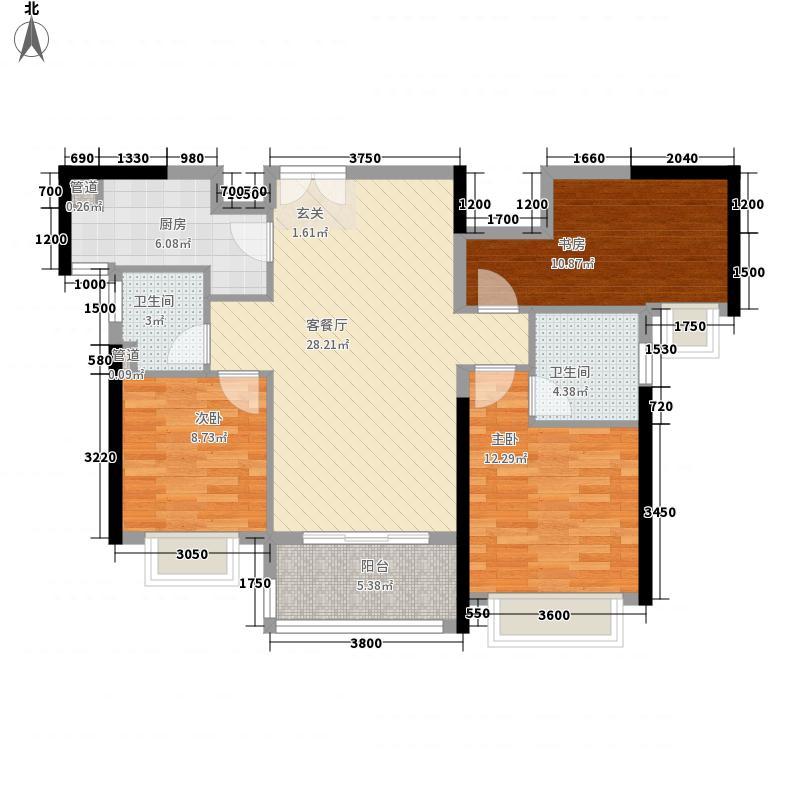 华发首府15.00㎡2栋、8栋、13栋0E户型3室2厅2卫1厨