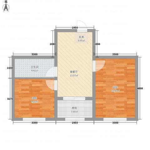 环北家园三期2室1厅1卫1厨64.00㎡户型图
