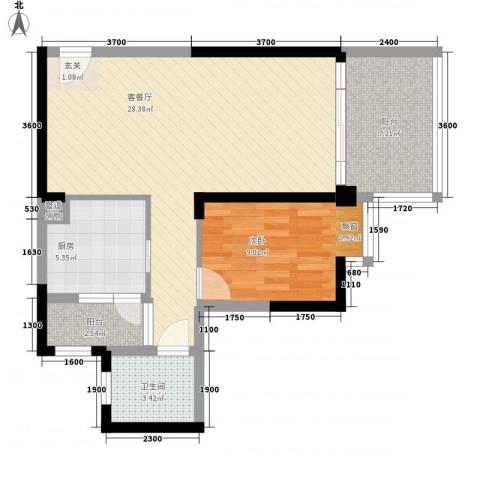 西山小区1室1厅1卫1厨81.00㎡户型图