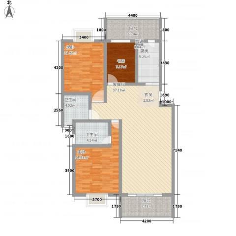 家乐苑3室1厅2卫1厨98.42㎡户型图