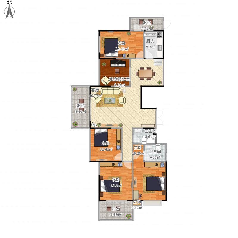 人和春天D区楼王B户型4+1房2厅2卫