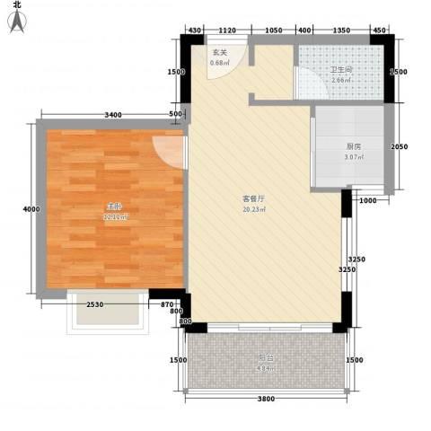 南滨花园1室1厅1卫1厨55.00㎡户型图