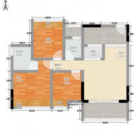 科尔玛城3室1厅2卫1厨64.41㎡户型图