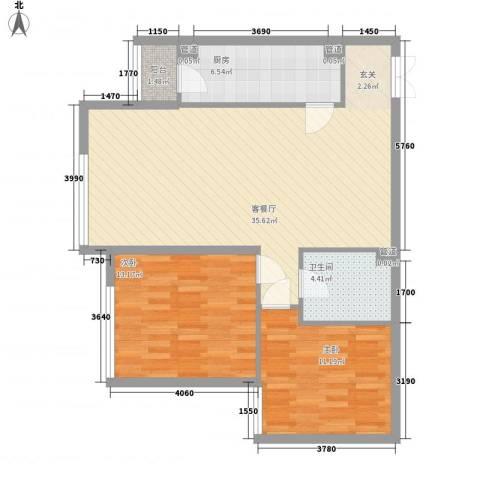 金星名邸2室1厅1卫1厨101.00㎡户型图