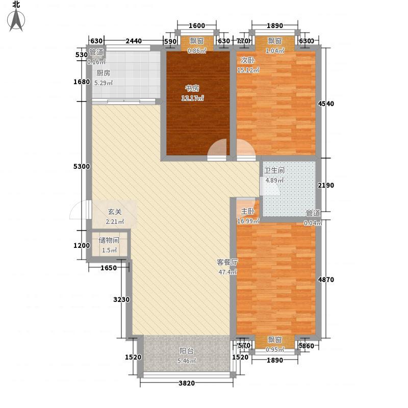 时代海景13.72㎡A户型3室2厅1卫1厨