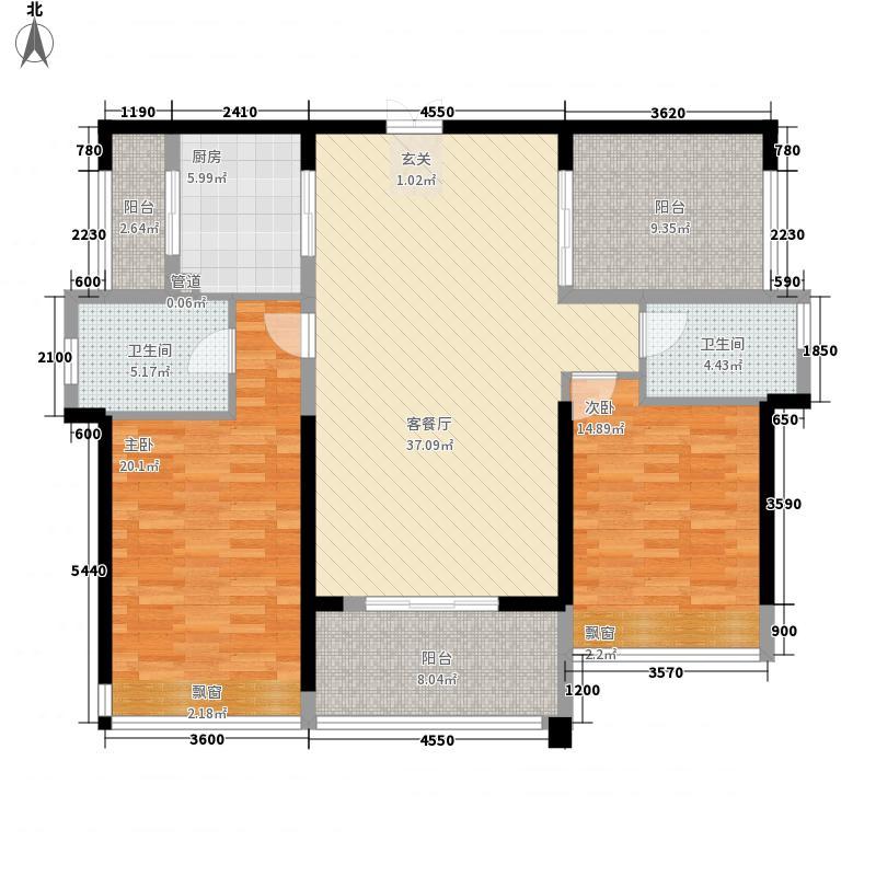 民发天地12.63㎡B2户型2室2厅2卫1厨