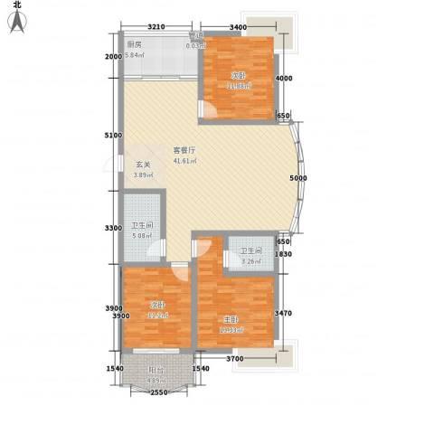 新世纪花苑3室1厅2卫1厨138.00㎡户型图