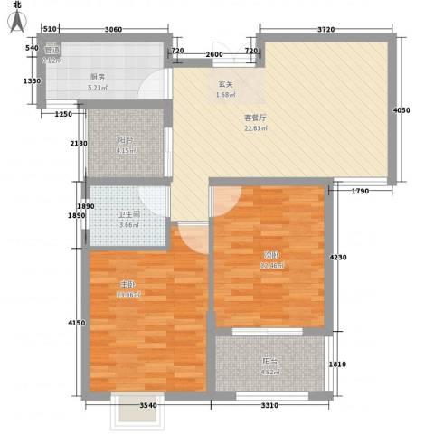 时代国际2室1厅1卫1厨96.00㎡户型图