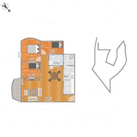 绿茵山庄3室1厅1卫1厨114.00㎡户型图