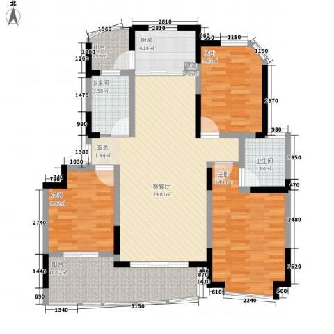 银河湾3室1厅2卫1厨125.00㎡户型图