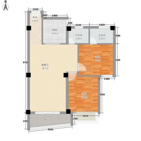 锦绣御景苑二期2室1厅2卫1厨91.00㎡户型图