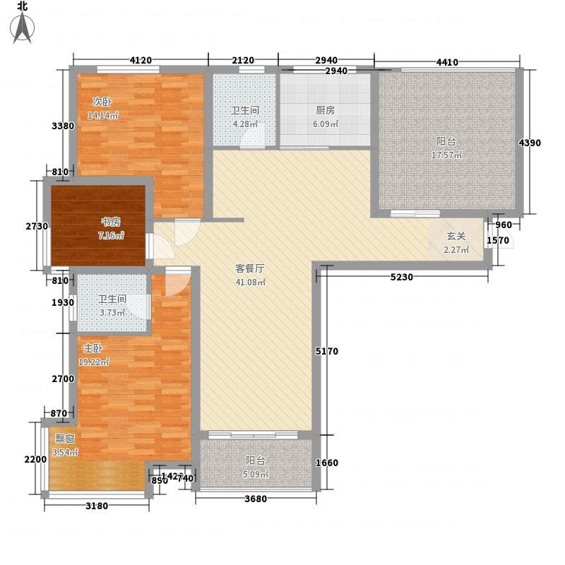 世代华府128.30㎡一期10号楼P户型3室2厅2卫1厨