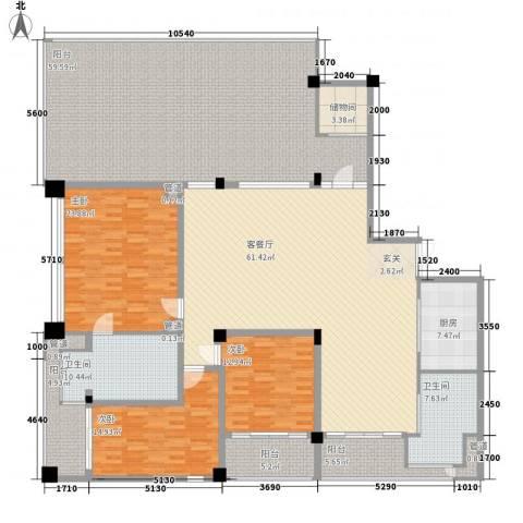 三亚湾红树林度假世界3室1厅2卫1厨303.00㎡户型图