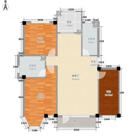 柏林水郡3室1厅2卫1厨119.00㎡户型图