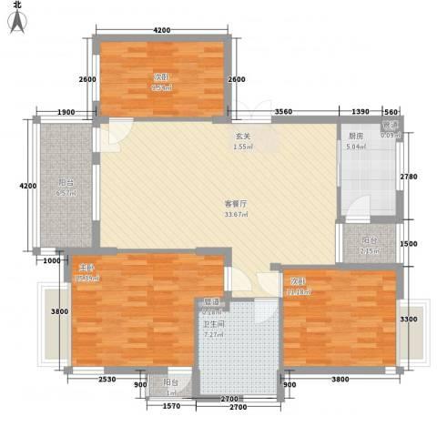 古楼广场3室1厅1卫1厨132.00㎡户型图