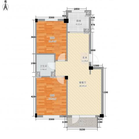 柏林水郡2室1厅1卫1厨79.00㎡户型图